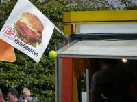 Snackwagen close up vlag Hamburger